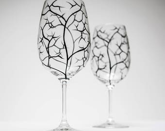Bare Branches, Black Tree Branch Wine Glasses - Set of 2 Hand Painted Wine Glasses, Bare Branches, painted wine glass, painted wine glasses