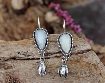 Rose Cut Moonstone and Succulent bud Sterling Silver Earrings, rustic, artisan, metalwork, handmade, boho, Gypsy, Cowgirl