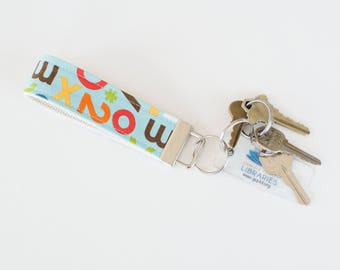 Fabric Key Chain Fob School Days Alphabet Letters