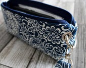 Zipper Pouch Clutch Wallet - Long Wallet - Cell Phone Wallet - Errand Runner Fabric Wallet Wristlet - Travel - Navy Royal Blue