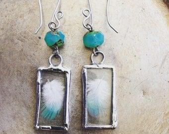 Go Gently, Blue Bird Feathers Earrings