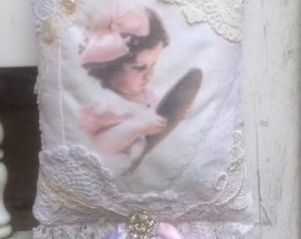 Sweet Little Girl Vintage Lace & Buttons Fresh Lavender Sachet Shabby Cottage