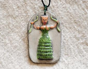 Minoan Snake Goddess - Priestess Pendant/Amulet - Assorted Colors, Custom Colors