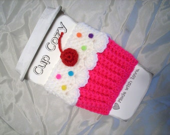 Cupcake CUP Cozy Choose pink green yellow Sleeve  for HOT or COLD Drinks Sprinkles Cherry Ready To Ship
