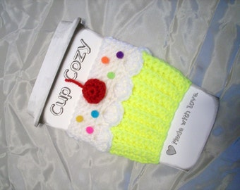Cupcake CUP Cozy Choose Pink Green Or Yellow Sleeve  for HOT or COLD Drinks Sprinkles Cherry Ready To Ship