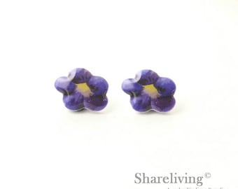 4pcs (2 pairs) Mini Purple Flower Charm / Pendant, Stud Earring, Laser Cut Tiny Purple Floral Earring, Perfect for Earring - YED027G