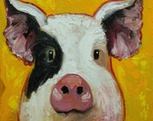 Pig painting 252 12x12 inch original oil painting by Roz