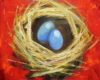 Nest painting 305612x12 inch original bird nest portrait oil painting by Roz