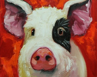 Pig painting 251 12x12 inch original oil painting by Roz