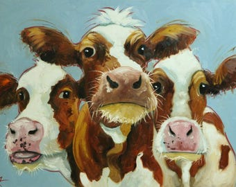 Cows painting animals 523  30x40 inch original portrait oil painting by Roz