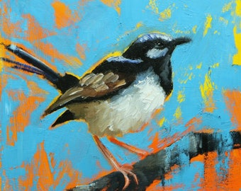 Bird painting 281 12x12 inch portrait original oil painting by Roz