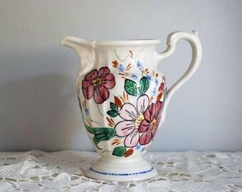 1950s Floral Pitcher, Blue Ridge Southern Potteries, Cottage Chic Decor, White Porcelain Water Jug, Milady Elegance China, Pink Flowers