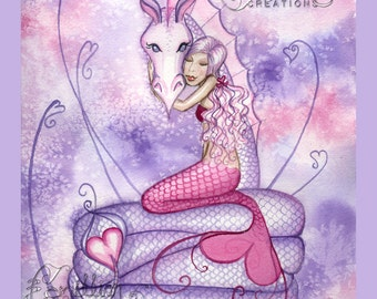 My Valentine Mermaid Sea Dragon Print  from Original Watercolor Painting by Camille Grimshaw