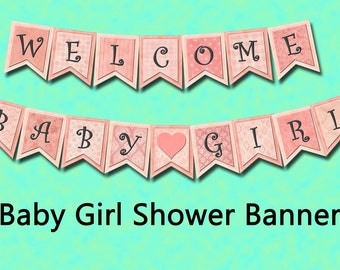 WELCoME BaBY GiRL Banner-4x5 pennants- INSTaNT DOWNLoAD-SHaBBY CHiC- 4 Printable Collage Sheets Download JPG Digital Files