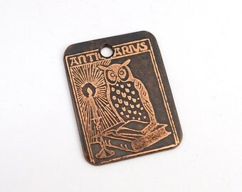 Bookplate owl pendant, rectangular flat metal copper etched ex libris design charm, handmade jewelry supply, 25mm