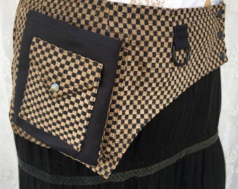 Checkerboard pocket belt - desert festival utility belt - black and tan steampunk pocket belt - plus size utility belt - Extra Large