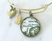 Charlevoix Michigan Vintage Map Charm Bangle Bracelet - Personalized Map Jewelry - Bangle - Lake Michigan - Traverse City - Pure Michigan