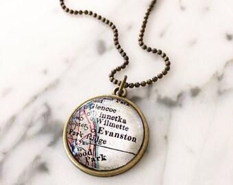 Evanston Map Necklace - Custom Handmade Pendant - Charm Jewelry - Gift - Wanderlust - Illinois Jewelry