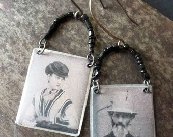 Abigail and Edmund ~ tintype style earrings ~ antique black glass beads ~ victorian couple ~ resin art with Sterling silver hooks OOAK