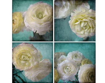 Ranunculus Print Set, Shabby Chic Decor,  Floral Wall Art, Flower Photography, Turquoise Wall Art Set