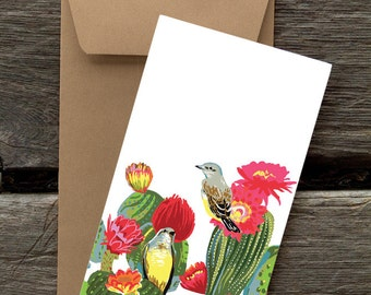 Kingbirds in Cacti : Pack of 8 eco-friendly flat cards