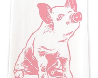 Pink Piglet Flour Sack Kitchen Towel