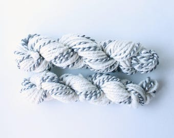 random 2ply grey white x 2 available .. natural undyed wool yarn, wool yarn, handspun yarn, hand spun yarn, 2ply candy cane yarn, bulky wool