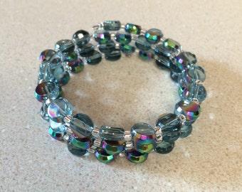 Glass bead memory wire bracelet - Czech flat half coated beads AB