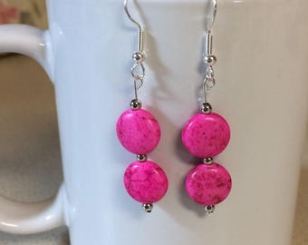 Pink turquoise howlite round earrings