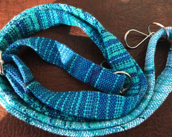 Custom blue erizo no matter how small handwoven crossbody purse strap
