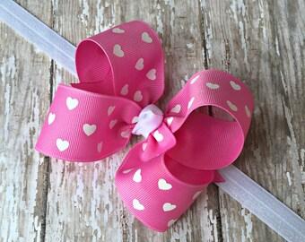 Valentine Headband Valentine Pink Heart Headband Pink Heart Big Bow Headband Pink Baby Headband Pink Toddler Headband Large Bow Headband