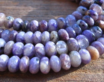 Smooth Charoite semiprecious stone beads - button rondelles - 6mm X 3mm - 16 beads