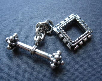 Solid Sterling Silver Toggle clasp Puzzle Piece