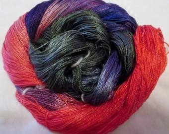 Hand dyed Tencel Yarn - 4/2 Tencel Lace Wt. Yarn  ETERNAL ROSE - 420 yards