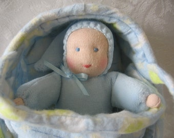 Reserved for Mary,Waldorf Bunting Doll, Waldorf Doll,Doll and Bed Set, Pocket Doll, Boy Doll or Girl Doll