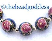 NEW SELECTION TENSHA Beads Single Pink Rose Blue Metallic 12mm-5 Pieces