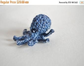 May Sale - 20% off Tiny Octopus in Denim Blue - Mini Octopus Worked in Blue Shaded Yarn. Button Eyes. Baby Octopus. Amigurumi Sea Creatures,
