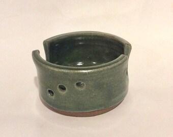 sponge holder, green, ceramic, handmade pottery, business card holder, sorter, ready to ship B70