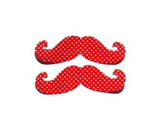 Valentines Day, Handlebar Mustache, Set Of 2, Two Designs Available,Fabric Iron On Appliques
