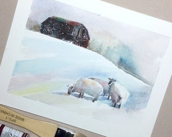 Winter snow landscape barn and sheep original watercolour painting