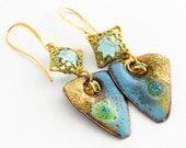 Tide Pools: Enameled Copper Artisan Earrings, Aqua Blue and Gold Enamel Earrings, Handcrafted Earrings, One of a Kind Unique Gift, SRAJD
