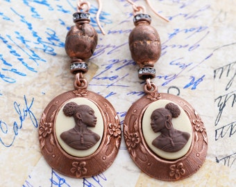 African American Lady Cameo Earrings, Ethiopian Prayer Bead Earrings, African Trade Bead Earrings, Black History Month, Copper Earrings, SRA