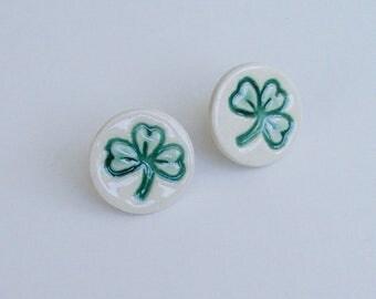 Handmade Porcelain Earrings, Shamrock