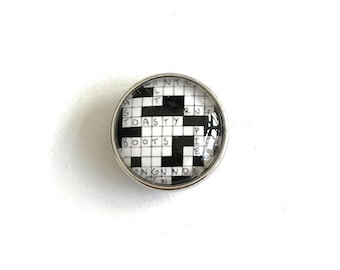 Crossword Puzzle Snap Button Charm for Snap Accessories