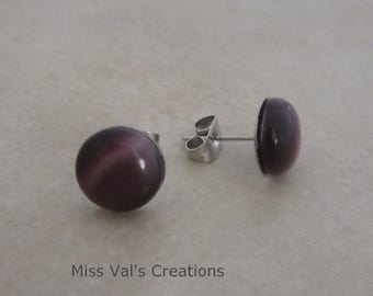 purple cats eye earring studs