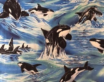 Robert Kaufman Orca Whales - 1 yard