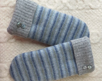 Gray and Blue Sriped Mittens, Sweater Wool Mittens, Eco-Friendly Lined Felted Wool Mittens