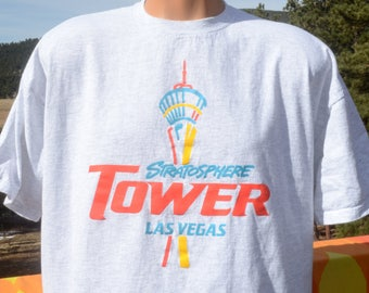 vintage 90s t-shirt STRATOSPHERE tower hotel las vegas world record casino tee XL