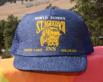 70s vintage denim trucker mesh hat STAGECOACH INN grand lake colorado snapback baseball cap rockstar 80s