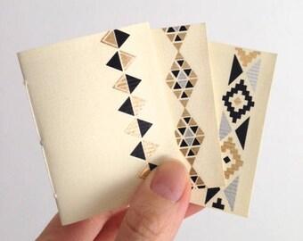 Mini Cream Handbound Notebooks with Black & Gold Accents: Set of 3, Tiny Golden Notebook Trio, Ivory Cream Blank Books